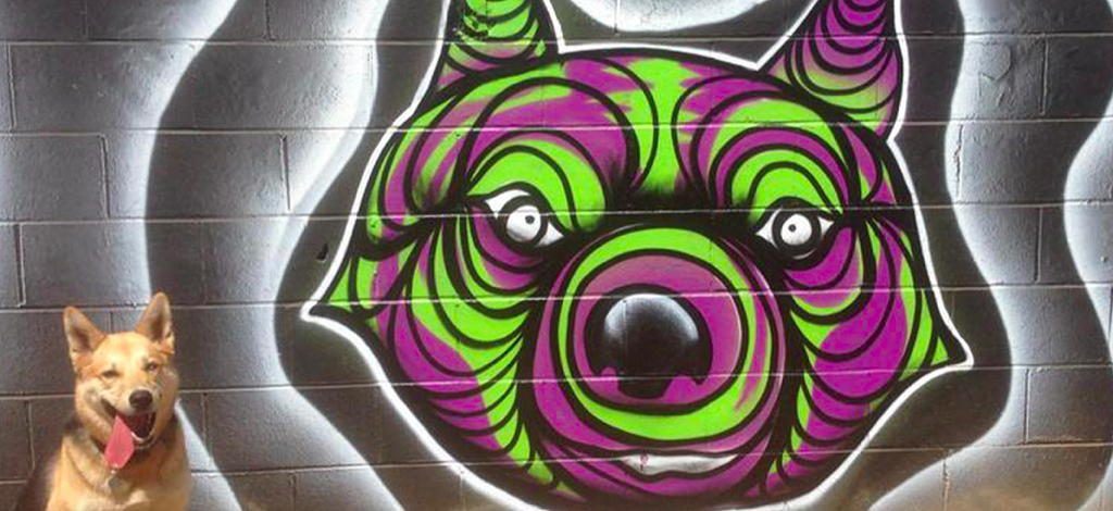 Arts District Dog Park mural near Circa apartments in Downtown Los Angeles