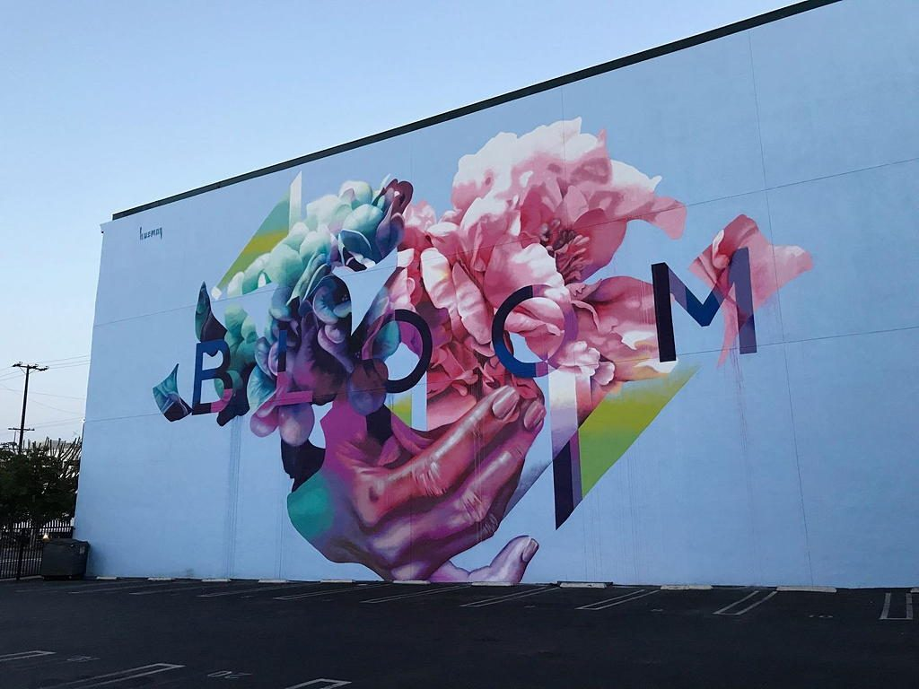 Bloom by Hueman mural near Circa apartments in Downtown Los Angeles