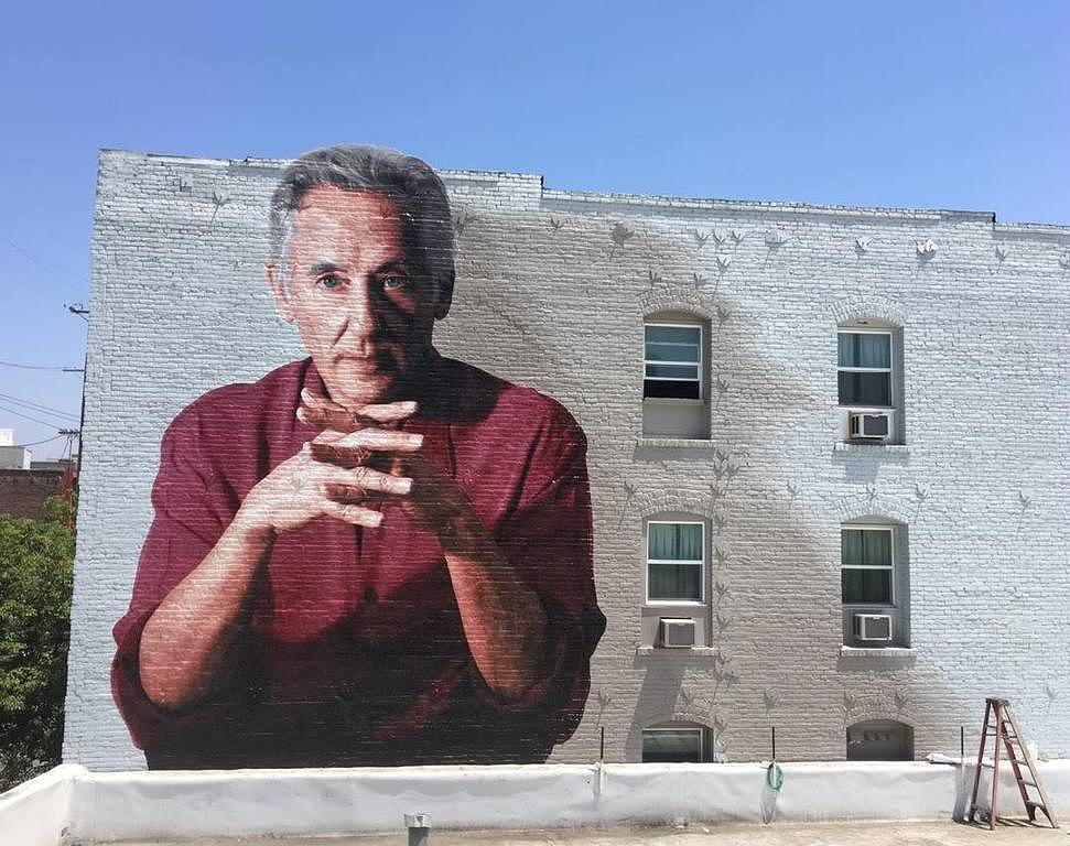 Kent Twitchell/Ed Ruscha Monument mural near Circa apartments in Downtown Los Angeles