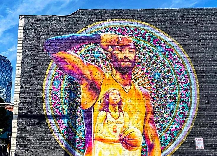 Kobe Mural by AISEBORN near Circa apartments in Downtown Los Angeles