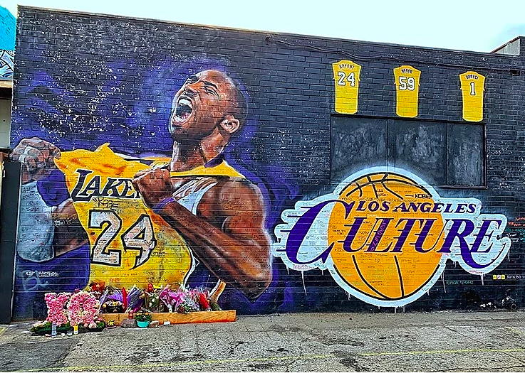 Kobe Mural by Jonas Never near Circa apartments in Downtown Los Angeles